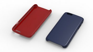 Plastic cases for smartphone. Solid red and blue colors