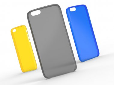 Cases for cellphone on surface. Transparent Plastic. Yellow, Grey and Blue colors