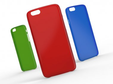 Cases for cellphone on surface. Transparent Plastic. Green, Red and Blue colors