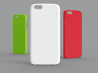 Cases for cellphone. Plastic. White, Lime and Red colors