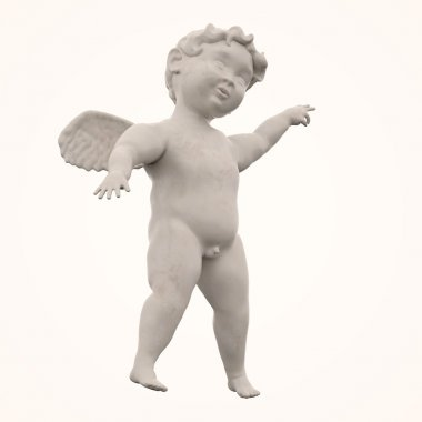 Marble Angel Chubby Male Child Winged Isolated on White