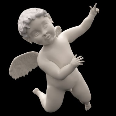 Marble Angel Chubby Male Child Winged Isolated on Black