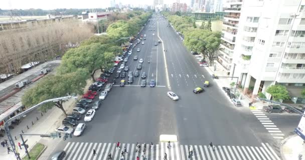 Aerial drone scene of important avenue. Camera films the traffic of the road.