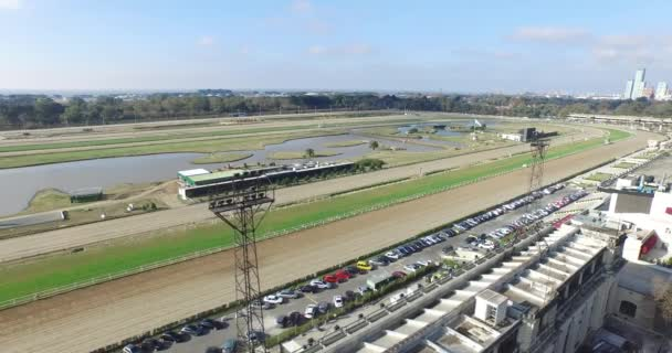 Aerial drone scene of equine sports field, polo, racetrack and stadium of hippodrome,
