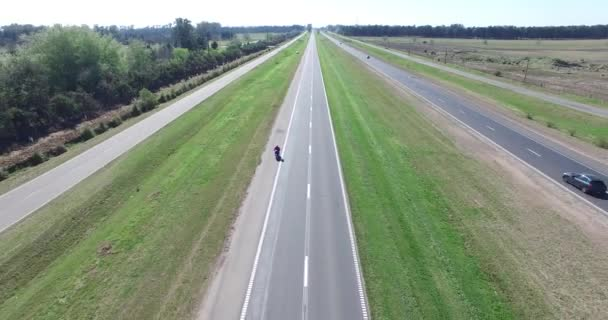 Aerial drone scene of highway in the countryside.