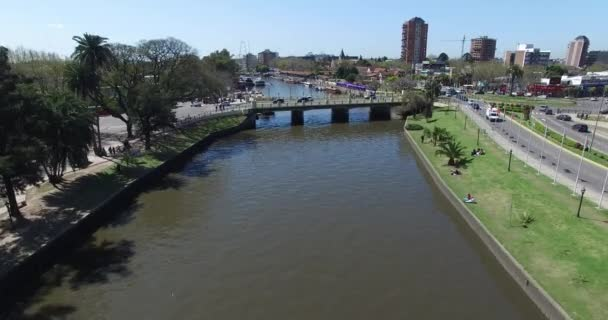 Aerial drone scene of Tiger River in the suburbs of Buenos Aires.