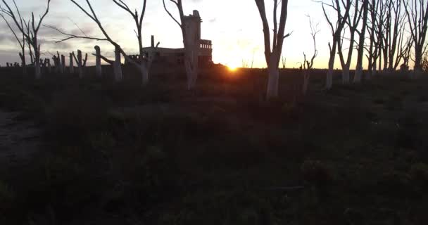 Aerial Drone scene of an abandoned Slaughterhouse at sunset, surrounded by dead trees in Epecuen at buenos aires argentina. Horrifying and scary exterior panorama. Camera traveling close to building.