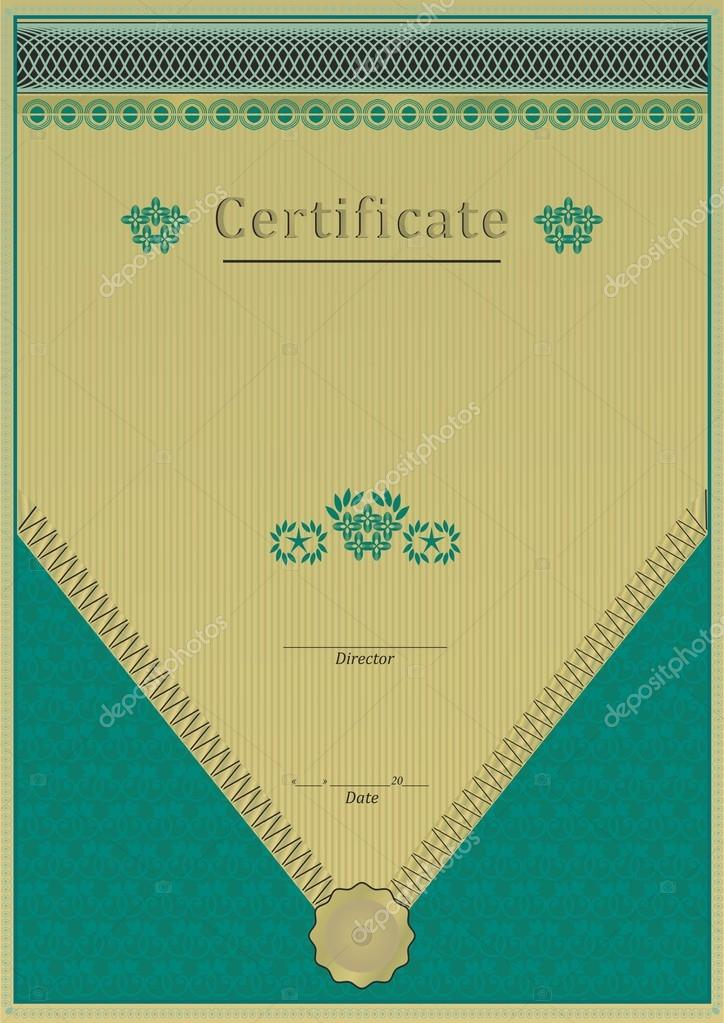 Emerald Green Gold Certificate Stock Vector
