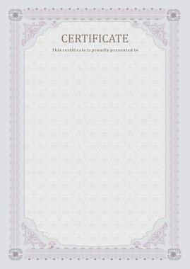 Grey certificate. Light official blank