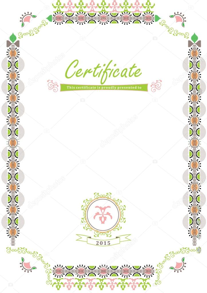 Certificate  Spring border  Light colorful frame on the