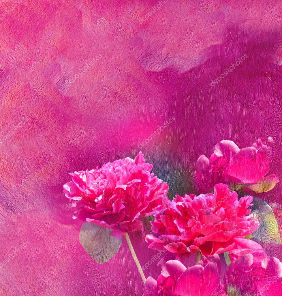 Oil texture. Painting.  Dark pink peonies on the dark lilac background