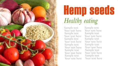 Raw organic hemp seeds and vegetables