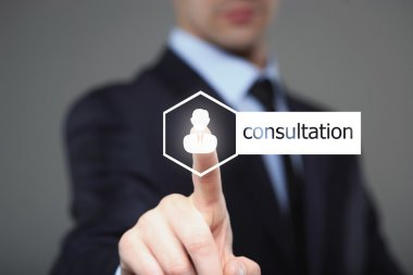 business, technology, internet and networking concept - businessman pressing consultation button on virtual screens