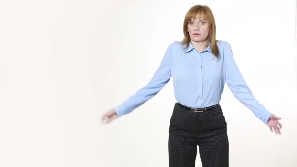gesture Shrug. girl in pants and blous.  Isolated on white background. body language. women gestures. nonverbal cues