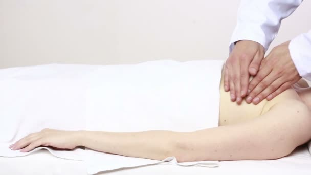 Beauty woman recieving breast massage. breast examination. mammolog