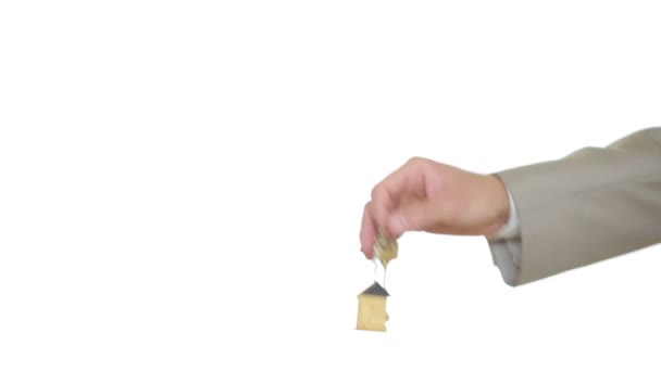 Man and woman hand passing keys in house. Transaction estate