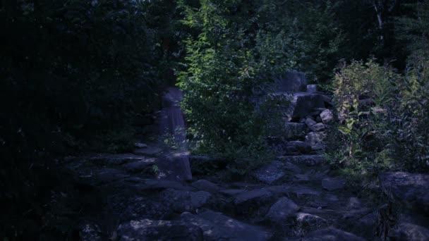 Duch mladé ženy v lese. Duch starověkých ruin. Halloween