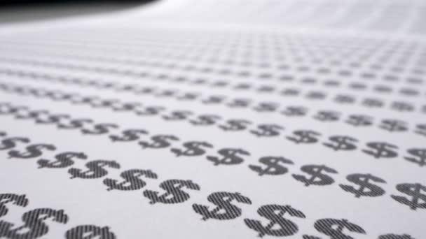Extrem hautnah, detailliert. Text-Hintergrund. Dollar-Zeichen auf Papier gedruckt