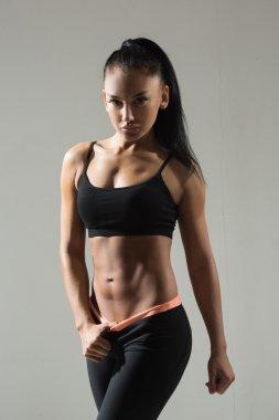 Attractive fitness woman, trained female body, lifestyle portrait, caucasian model stock vector