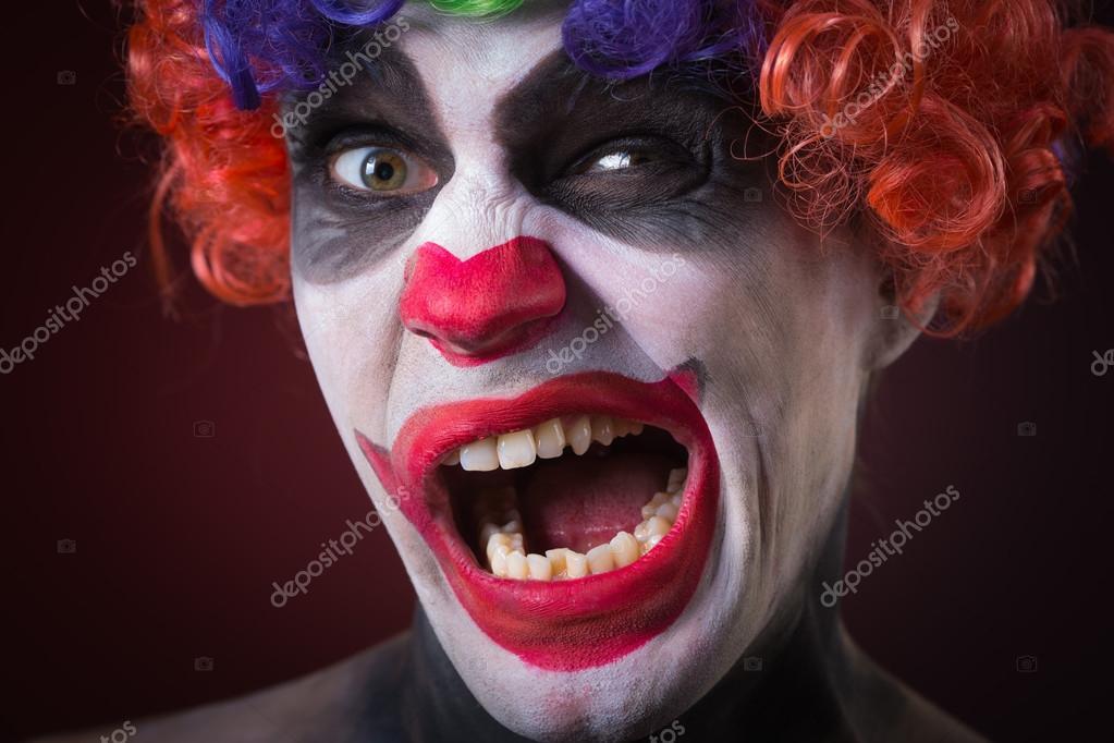 Evil Spooky Clown Portrait On Dark Background Expressive Man