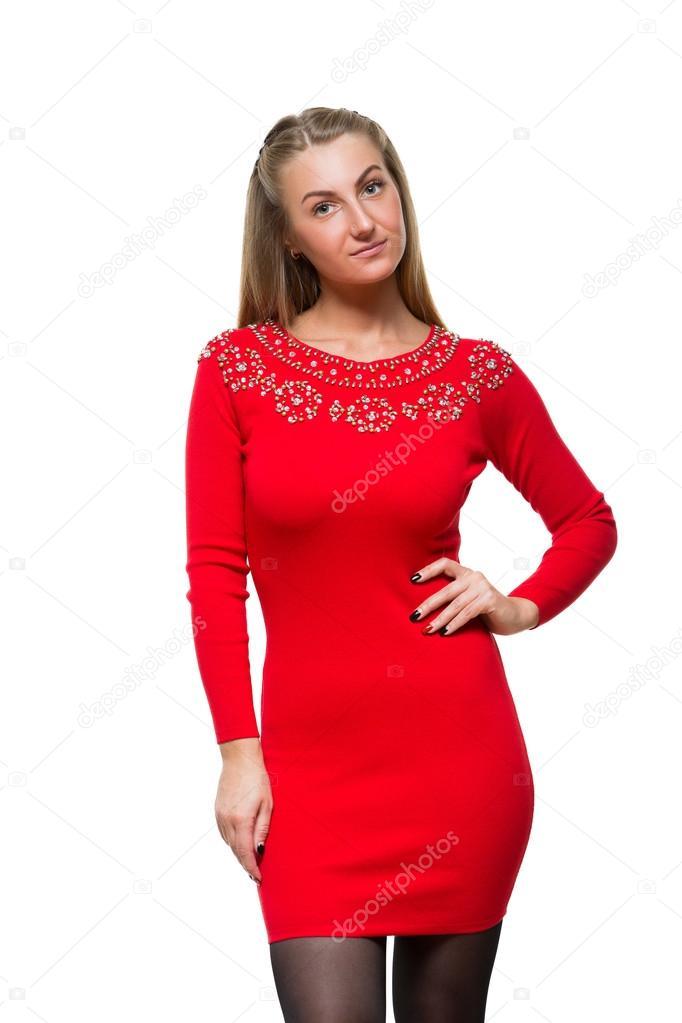 Rode Jurk Met Mouwen.Mode Jong Meisje Verblijf Rechtstreeks In Wollen Rode Jurk Met Lange