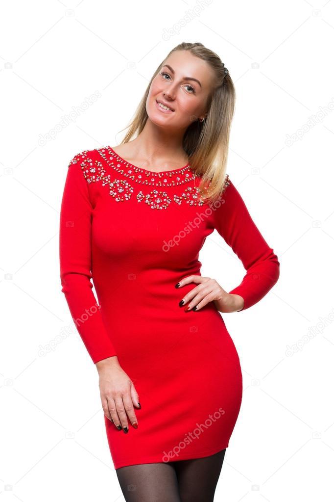 Rode Jurk Lange Mouw.Mode Jong Meisje Verblijf Rechtstreeks In Wollen Rode Jurk Met Lange