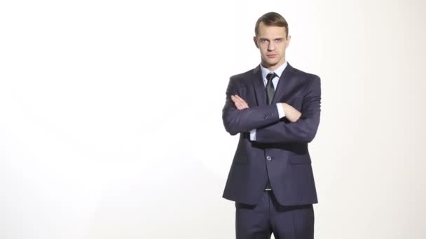 body language. man in business suit isolated white background. Training managers. sales agents.  gesture of arms and hands.  standard gesture crossed arms