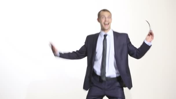 body language. man in business suit isolated white background. Training managers. sales agents. abortive gesture fun. disco