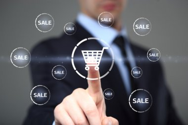 business, technology, internet and networking concept. businessman touching virtual shopping cart.