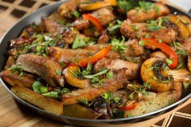 roast meat in a frying pan.