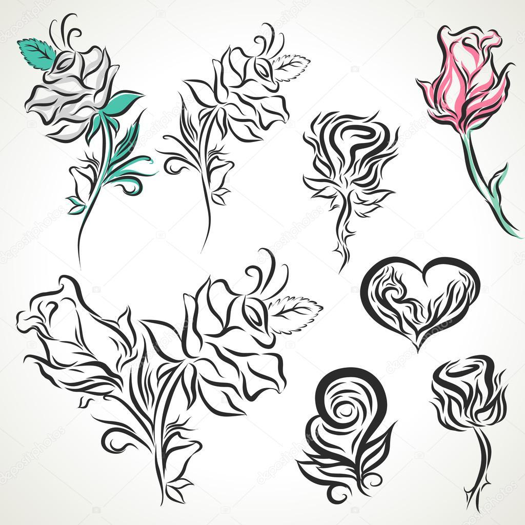 Róża Z Tribal Tatuaż Zestaw Grafika Wektorowa Nopstudio