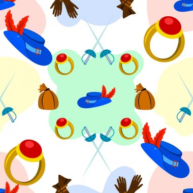 Pattern from the set for the Musketeer hat with a feather, money, sword, gloves on a white background icon