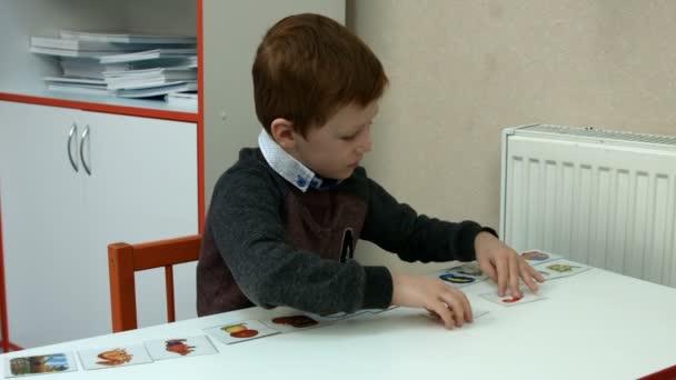 Six-year-old boy in class