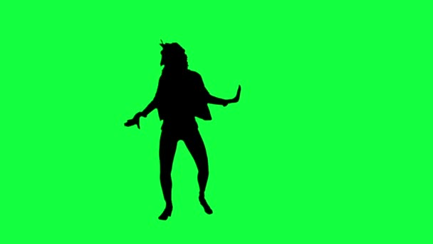 Dancers silhouette against a green background