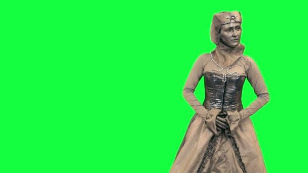 Živé sochy ukazuje fiktivní objektu Chromakey