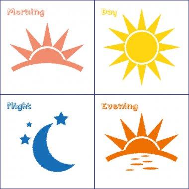 Morning day evening night icon set