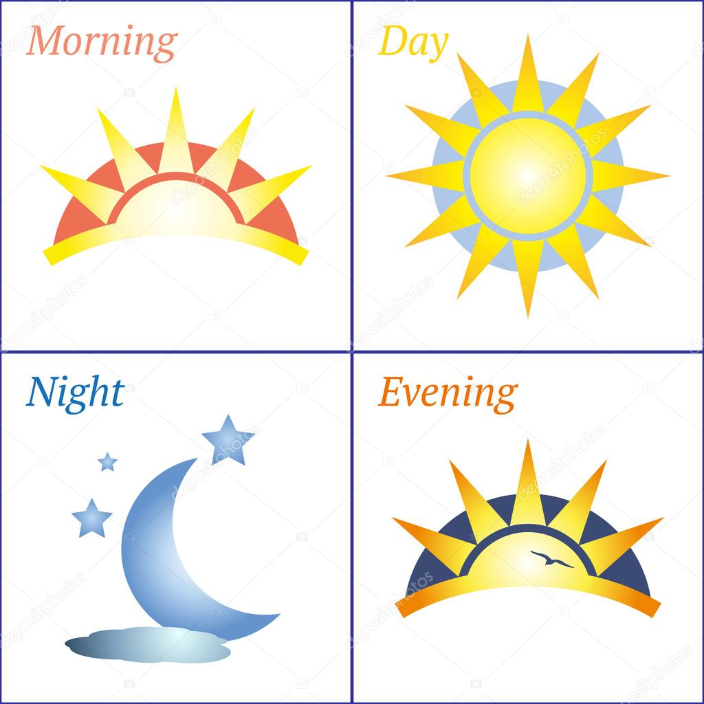 Morning day evening night icon set