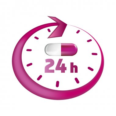 Around the clock take drugs vector icon