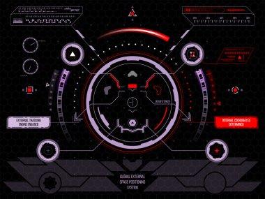 Futuristic touch screen user interface HUD