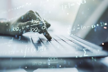 Creative scientific formula concept with hands typing on laptop on background. Multiexposure