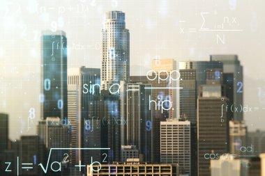 Abstract scientific formula hologram on Los Angeles skyline background. Multiexposure