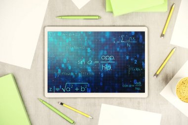 Creative scientific formula concept on modern digital tablet screen. Top view. 3D Rendering