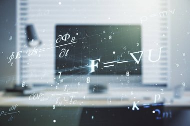 Double exposure of creative scientific formula concept on laptop background, research and development concept