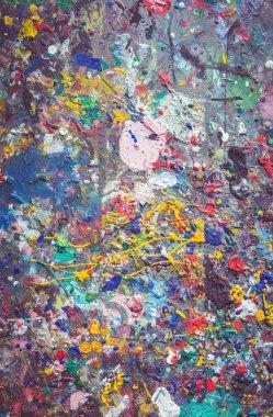 "Картина, постер, плакат, фотообои ""Деревянный стол с красочные краски пятна на поверхности"", артикул 100577802"