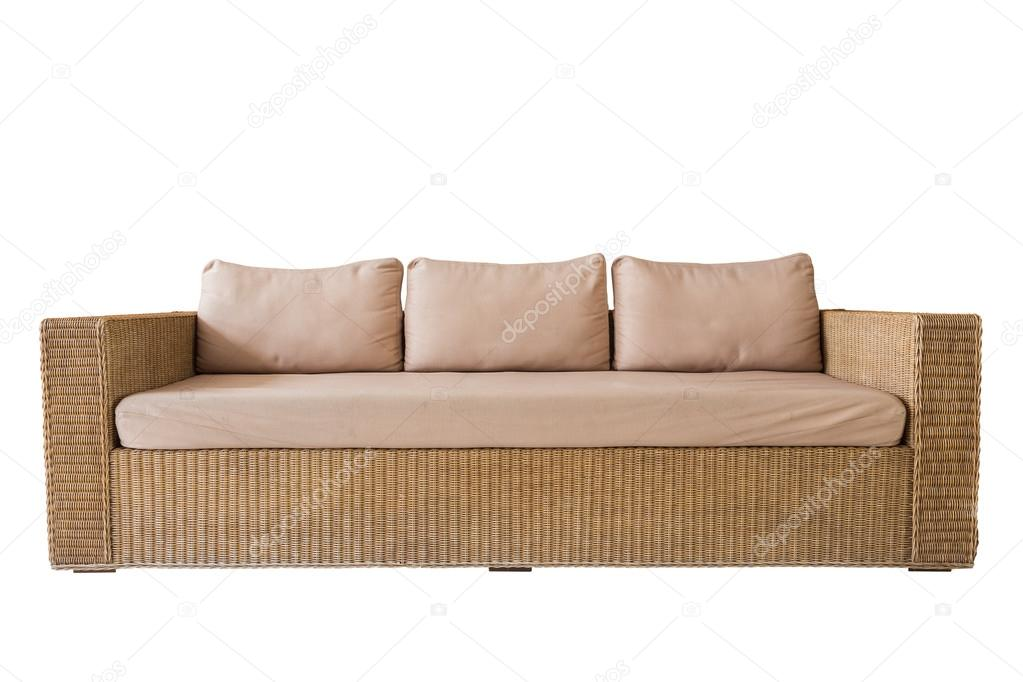 Rattan Sofa With Grey Cushions Isolated On White Saved With Cli Stock Photo