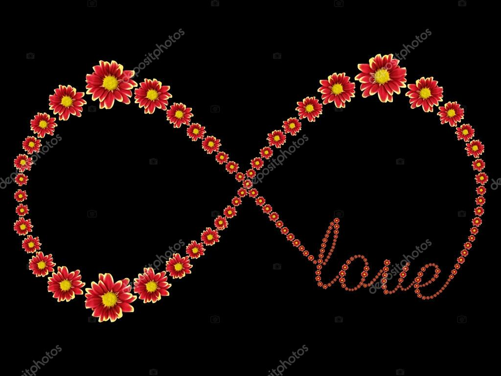 Infinity symbol of red flower and love text isolated on background infinity symbol of red flower and love text isolated on background saved with clipping path biocorpaavc