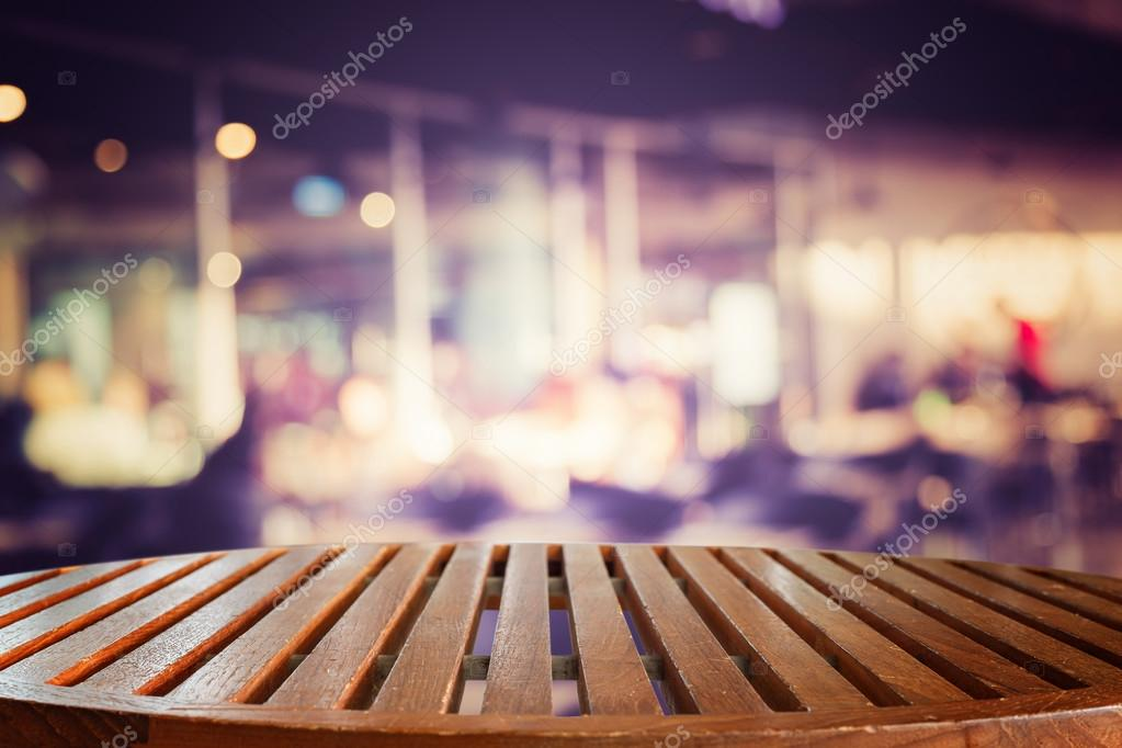 Empty top wooden table and blur with bokeh background