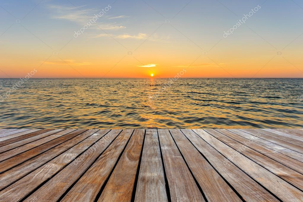 Wood decking and sunset