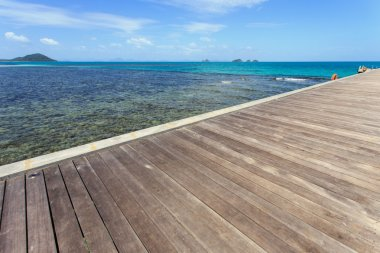Wood bridge to the sea in Koh Samui, Thailand