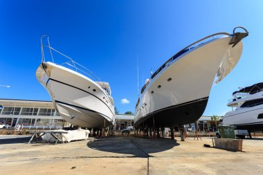 Luxury yacht beached for annual service and repair